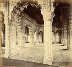 Interior of the Dewan-i-Khass, King's Palace [sic. Diwan-i Khas, Hall of Private Audience], Delhi